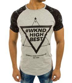 843637a9d0fb Šedé pánske tričko s potlačou WKND High Best