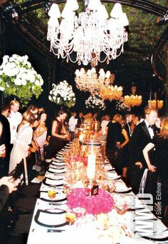 Gorgeous table setting from a Ralph Lauren event in NYC. what my wedding will look like. That chandelier? Wedding Bells, Wedding Events, Weddings, Wedding Themes, Party Planning, Wedding Planning, Plum Pretty Sugar, A Little Party, Festa Party