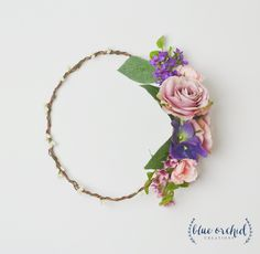 Silk Flower Crown - Wedding, Flower Crown, Purple Flower Crown, Lavender Rose, Silk Flowers, Silk Wedding Flowers, Wedding Veil, Boho, Bride by blueorchidcreations on Etsy