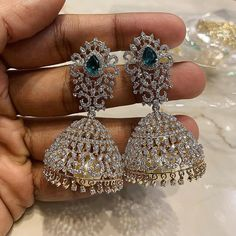 Diamond Earrings Indian, Gold Jhumka Earrings, Diamond Necklace Set, Diamond Jewelry, Silver Jewelry, Silver Ring, Gold Jewellery, Silver Necklaces, Bridal Necklace Set