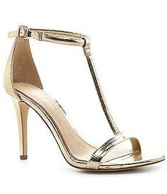 Gianni Bini Antonias T-Strap Metallic Lizard Patterned Leather Dress Sandals