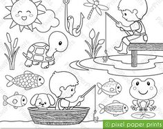 Sea Animals Digital Stamps Clipart by pixelpaperprints on Etsy