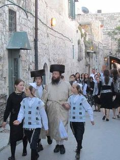 Jewish Family in the Old City of Jerusalem. ISRAEL