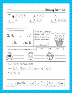 Freebie* First Grade- Providing your students with a meaningful task will be a snap with this daily morning work. Take attendance, speak with a parent...your students will have a routine and know that learning begins as soon as they walk in the door. This freebie is a sample of the units for sale at my store. You can buy them in three different bundles. I also use this packet as a center, quiet work when they complete a task or in the mornings as a daily activity.