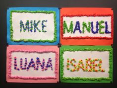 CLASS ART: names made of tissue paper - Elementary Education Beginning Of The School Year, New School Year, Art School, Diy And Crafts, Crafts For Kids, Arts And Crafts, Elementary Education, Elementary Art, Name Art