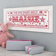 personalised 'one night only' name print by sideshow design | notonthehighstreet.com