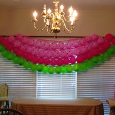 Watermelon party pink and green balloon decoration. Baby Shower Watermelon, Watermelon Birthday Parties, First Birthday Parties, Birthday Party Themes, Birthday Ideas, Watermelon Party Decorations, Watermelon Ideas, Watermelon Crafts, Fruit Birthday