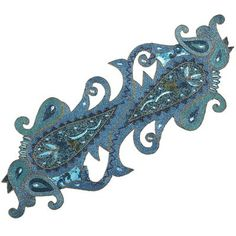 Aqua Beaded Paisley Table Runner