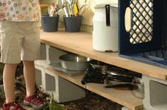 cinder blocks and boards for mud pie kitchen Mud Pie Kitchen | Expect the Unexpected