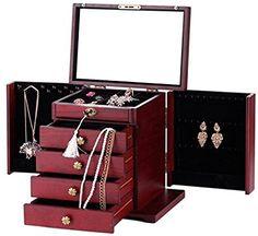Rowling-Boîte à bijoux en Bois Acajou Mallette/Coffret à Bijoux Cerise et Boîte à maquillage MG11WINE: Amazon.fr: Bijoux