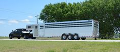 Triple Axle Champagne Metallic Stock Trailer sold by Wayne Hodges Trailer Sales in Weatherford, TX Livestock Trailers, Horse Trailers, Trailers For Sale, Trailer Sales, Aluminum Trailer, Farm Layout, Class A Rv, Future Trucks, Show Cattle