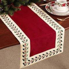 Pretty Embroidered Holly Table Runner 14 x 72 Quilted Table Runners Christmas, Christmas Runner, Table Runner And Placemats, Burlap Table Runners, Table Runner Pattern, Christmas Decorations, Christmas Sewing, Christmas Cross, Xmas
