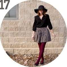 note to self. cheetah skirt maroon tights black sheer fabric shirt black pumps or rose gold flats and watch