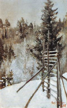 A Winter Landscape Oil Painting Reproduction on Canvas By Akseli Gallen-Kallela Winter Landscape, Landscape Art, Landscape Paintings, Landscapes, Painting Snow, Winter Painting, Scandinavian Paintings, Oil Painting Gallery, Nordic Art