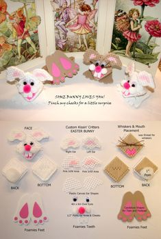 Easter Bunnies and Kissin' Critters - plastic canvas & craft yarn, pom and Foam sheets