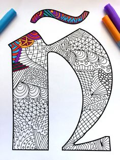 Letter Ñ Zentangle  Inspired by the font Deutsch