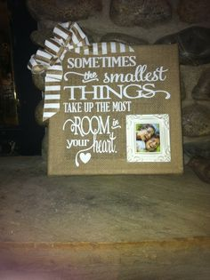 Burlap canvas with white vinyl application - small ceramic frame insert. By BDD