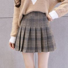 Skirts Womens Pleated Skirt Shorts Plaid Harajuku Plus Size Woolen High Waist A Line Japanese Tartan School Autumn Winter Skirt Pleated Skirt Outfit Short, Plaid Pleated Mini Skirt, Checkered Skirt, Plaid Skirts, Skirt Outfits, Pleated School Skirt, A Line Skirts, Short Skirts, Mini Skirts