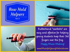 Bow Hold Helpers - learn more neat tricks to help a bow hold at www.MusicforYoungViolinists.com #ViolinTeaching, #ViolinHacks