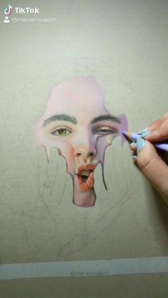 Mariam Salem( on TikTok Colored Pencil Portrait, Colored Pencil Artwork, Color Pencil Art, Self Portrait Drawing, Portrait Art, Realistic Drawings, Colorful Drawings, Art Sketches, Art Drawings