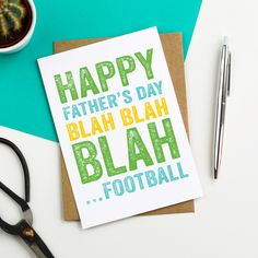Happy Father's Day Blah Blah Blah Football Funny Typographic contemporary Simple Greetings Card by doyoupunctuate on Etsy