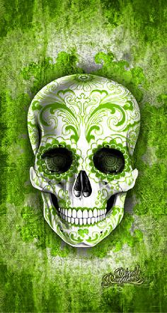Green Skull Background