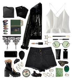"""""""the flames are burning me in my bed"""" by typicalgemini ❤ liked on Polyvore featuring NARS Cosmetics, Lancôme, WithChic, Miss Sixty, MAC Cosmetics, Anine Bing, Bobbi Brown Cosmetics, Ancient Greek Sandals, Gucci and beautyblender"""