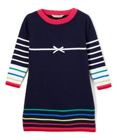 Look at this Navy & Rose Stripe Shift Dress - Infant, Toddler & Girls on #zulily today!