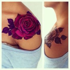 Beautiful Red Rose Shoulder Tattoo