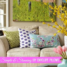 Learn a super fast and easy way to make simple and stunning DIY Envelope Pillows by following this clear, concise, and straight-forward tutorial for sewing DIY Envelope Pillows.