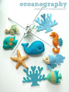 AS SEEN IN FIT PREGNANCY MARCH 2017 FEATURED IN THE OCEANS AGLOW - YOU NESTING ARTICLE DECORATIVE THEMED FUN ANIMALS SET WOOL-FELT BABY MOBILE SINCE 2006! HAND-CRAFTED & THOUGHTFULLY DESIGNED FOR STYLISH - CHIC - MODERN BABY NURSERY Baby Mobile Title: OCEANOGRAPHY Deco*Mobile in Custom Colors to Compliment your Room Decor Thoughtfully designed in artist choice colors shown in product images #1-3 with color hues: ocean aglow blue/green/teal (image #1) -- pastels seagreeen/t...