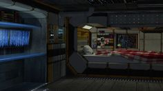 Spaceship Bedroom Ambience  Relaxing in the Sleeping Quarters (White Noise ASMR Relaxation) - I always dreamed of dozing off looking at stars and galaxies from my bedroom window but never quite had the physique to make it as an astronaut.   Here's a little something to keep us going until space travel is more accessible. Judging from the bass-y hum this room must be pretty close to the engine!  Image credit: http://necril.deviantart.com/art/Space-Ship-Sleeping-Quarters-551912726  Enjoy this…