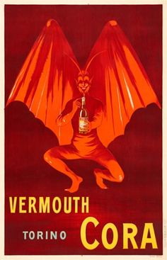 Vermouth Torino Cora poster by Cappiello - Beautiful Vintage Posters Reproductions. French poster advertising red devil with wings holding a bottle of liqueur. Giclee advertising prints posters.