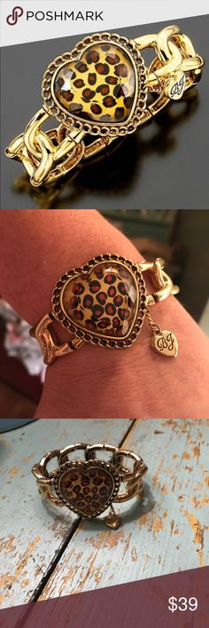 Betsey Johnson Bracelet Betsey Johnson Leopard Heart Stretch Bracelet!  Never Worn!  Great Condition:). Betsey Johnson Jewelry Bracelets