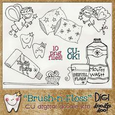Brush-n-Floss - CU doodles | CU/Commercial Use #digital #scrapbook design tools at CUDigitals.com #digitalscrapbooking