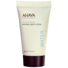AHAVA DeadSea Water Mineral Body Lotion Travel Size - 1.3 oz This best-selling body lotion in a convenient, airline-approved travel size protects skin with Dead Sea Minerals and soothing Aloe Vera to nourish skin all day long. It absorbs promptly and smooths skin, providing rejuvenating, stimulating effect.