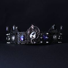 Black crown Spiked, Dragon crown, Black blue, Glam Punk Imperial Crown Costume Crown, Gothic crown, male crown, Mens costume, Halloween  Fantastic hair accessories for theather production, parties proms or other special occasions  - Metal, full round - Handmade - Size: 6cm (2.3) high. - Tiara (open front the back) flexible. - **100% FULL MONEY BACK GUARANTEE** Unlike others sellers, WE STAND behind our brand ILoveCrowns and provide 100% FULL MONEY BACK guarantee, if, For Whatever Reason, You…