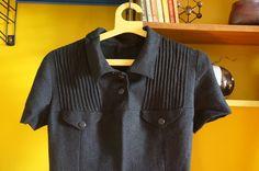 Robe en laine années 60  60s black wool dress 1960s