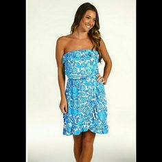 Lilly Pulitzer Shorely Blue Sailors Valentine Brand new with tags. Beautiful Lilly Pulitzer dress. Strapless dress,  style is called Flor. Shorely blue sailors valentine. Retail price is $148. I adore this dress but it doesn't fit me like I hoped it would. :(   Lower with free ship on merc.  Reasonable offers submitted through the offer button only will be considered! Lilly Pulitzer Dresses Midi