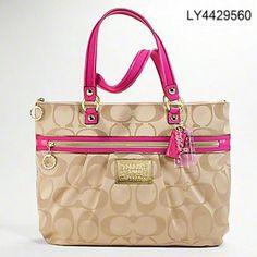 Coach Poppy Pink Gold Shoulder Handbags