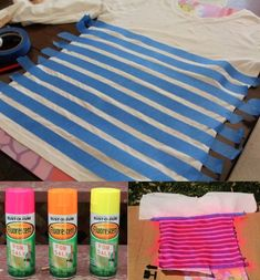 diy neon striped shirt, could be done with any colour, not just neon Neon Shirts, Paint Shirts, Camp Shirts, Striped Shirts, Diy Projects To Try, Craft Projects, Sewing Projects, Cute Crafts, Diy Crafts