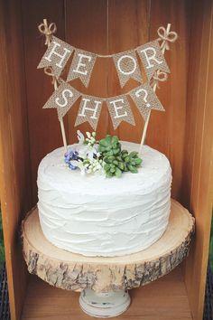 Gender Reveal Cake Topper, He or She Cake Topper, Gender Reveal Ideas, Gender Reveal Decorations, Gender Reveal Party, Boy or Girl Cake Topper, Rustic Baby Shower Decor, Rustic Baby Shower Ideas, Burlap Baby Shower, Burlap Cake Topper,