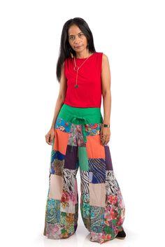 Festival pants, Boho patchwork pants, wide leg pants, hippie pants