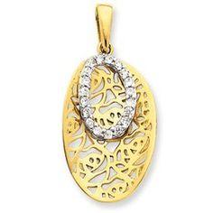 Sterling Silver Vermeil Oval CZ Pendant - JewelryWeb JewelryWeb. $29.90. Save 50%!