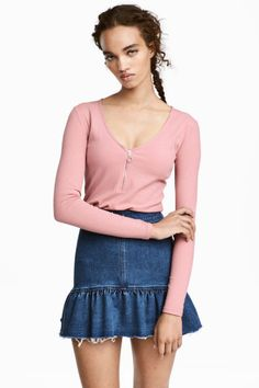 Трикотажный топ - Розовый - Женщины | H&M RU 1