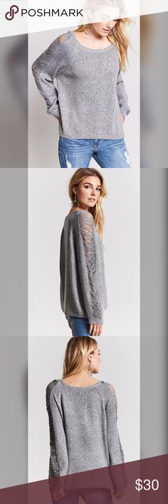 """Oversized Distressed Knit Sweater Details • A knit sweater featuring long sleeves with distressed detailing, a round neckline, a ribbed trim, and an oversized silhouette.  Content + Care • 55% cotton, 45% acrylic • Hand wash cold • Made in China • Grey/gray/silver  Size + Fit • One Size (can fit S-M) • Full length: 26"""" • Chest: 47"""" • Waist: 50"""" • Sleeve length: 29""""  SOLD OUT ONLINE & IN STORES Forever 21 Sweaters Crew & Scoop Necks"""