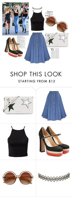 """Retro & Denim"" by arabellie ❤ liked on Polyvore featuring Balmain, Marc Jacobs, NLY Trend, Valentino, H&M, Assya London, GetTheLook, StreetStyle, denim and 90s"