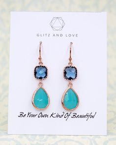 Jewelry Set Mint Blue Rose Gold Earrings - Mint and Pink teardrop earrings in rose gold. Pastel jewelry, Perfect for everyday and special occasion. Gifts for her and bridesmaids. Silver and rose gold.