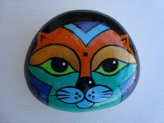 Hand painted stone-lucky stone-birthstone-cat by CatGalleryRoma