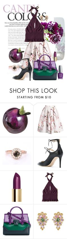 """""""Sage & plum"""" by sherrie-mock ❤ liked on Polyvore featuring Jimmy Choo, Hollister Co., Versace, OPI and sageplum"""